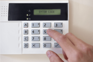 Intruder alarm installation keypad